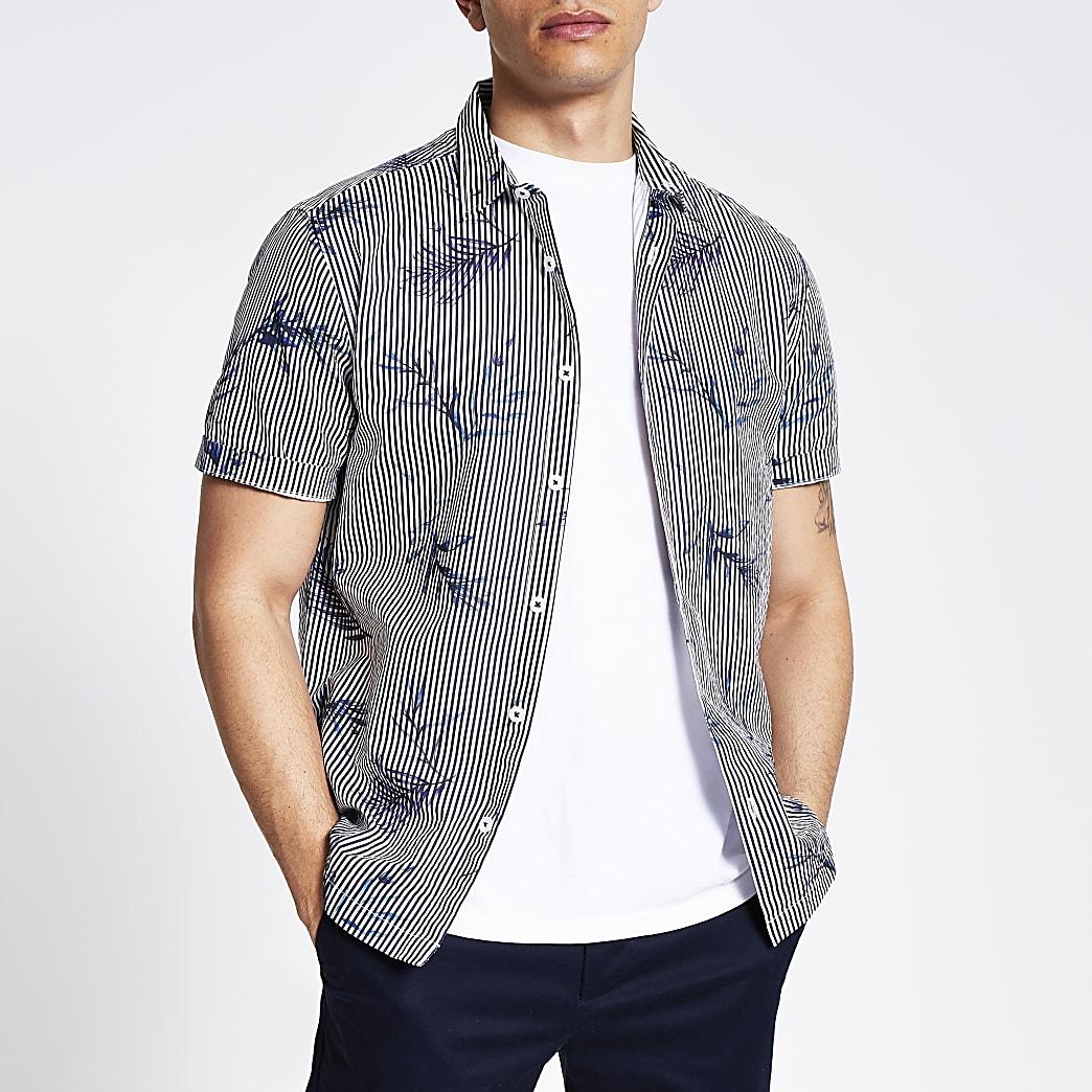 Blue stripe slim fit short sleeve shirt
