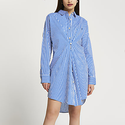 Blue stripe twist front longline shirt