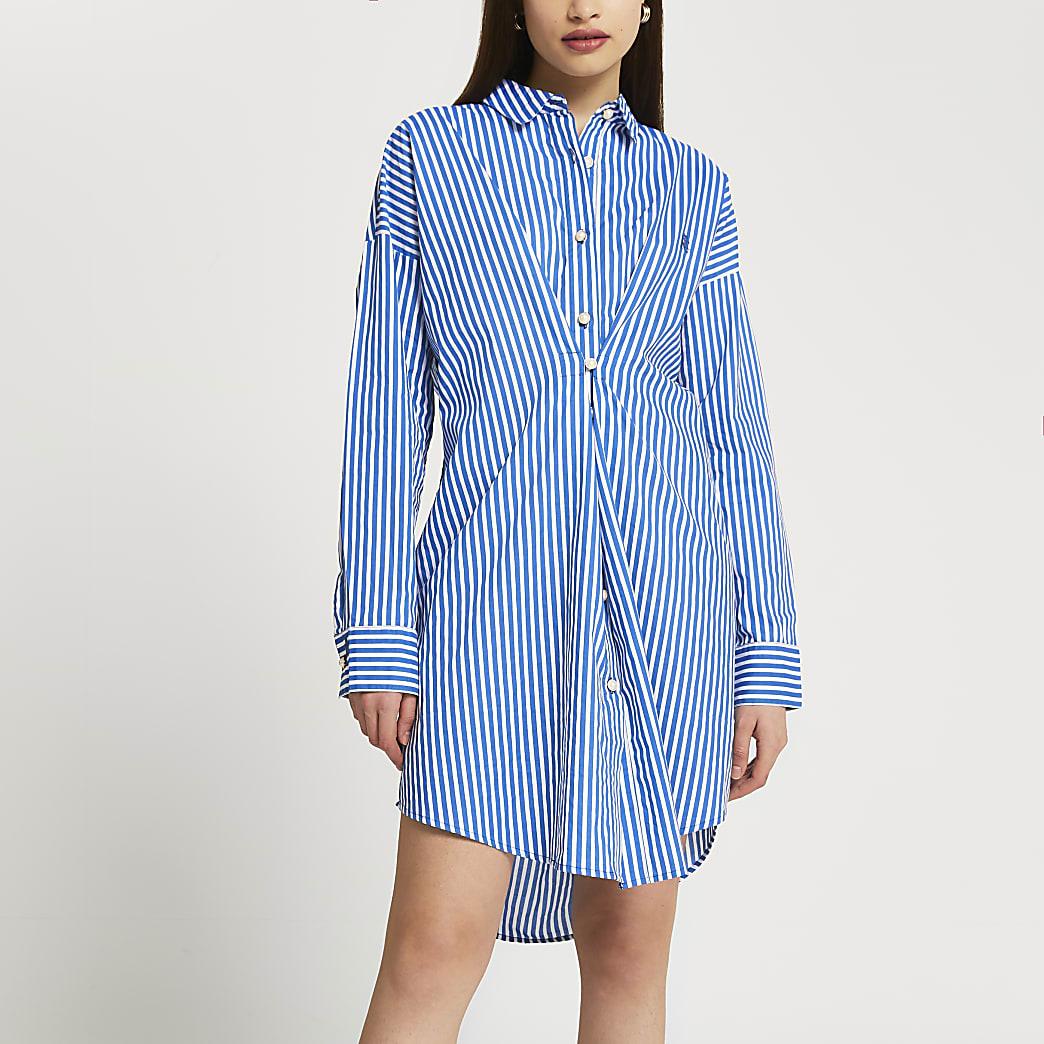 Blue stripe twist front longline shirt