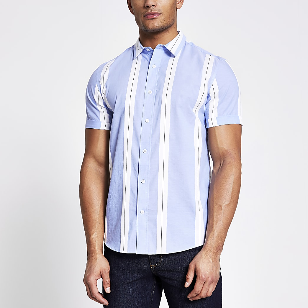 Blue striped colour blocked slim fit shirt