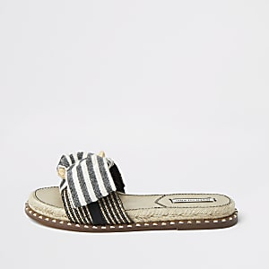 Blue striped espadrille bow sandal