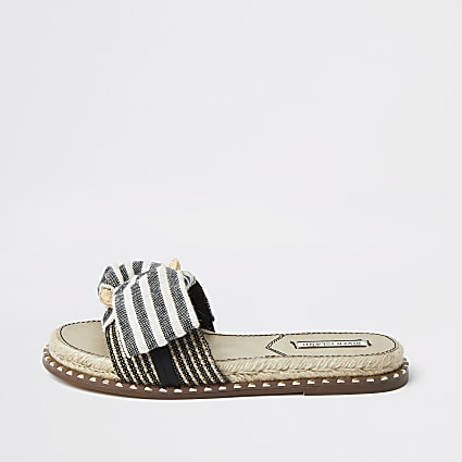 Blue striped espadrille bow sandal