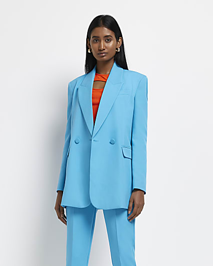 Blue structured double breasted blazer