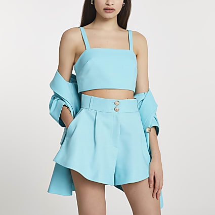 Blue structured double button shorts
