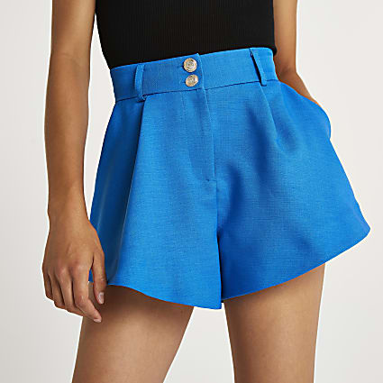 Blue structured shorts