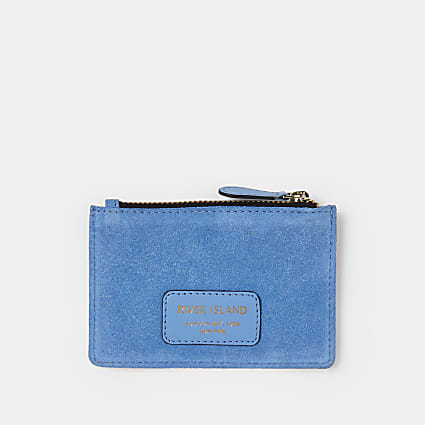 Blue suede card holder