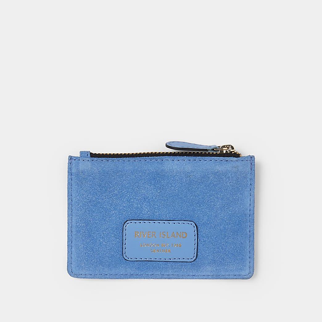 Blue suede card holder