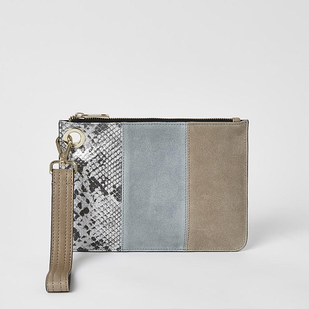 Blue suede colour blocked clutch bag