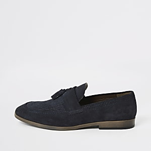 Blue suede tassel front textured loafers