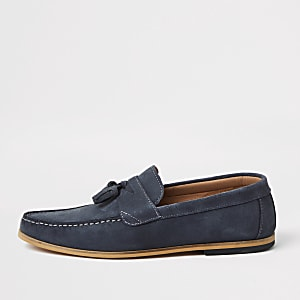 Blue suede tassel loafer
