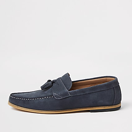 Blue suede tassel loafer