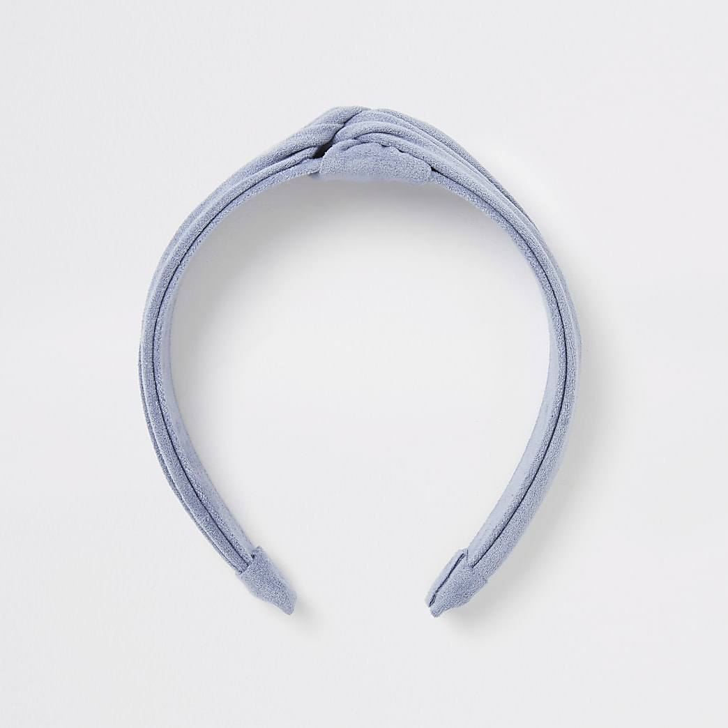 Blue suede twist top alice band