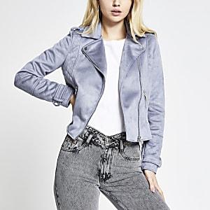 Blue suedette quilted biker jacket