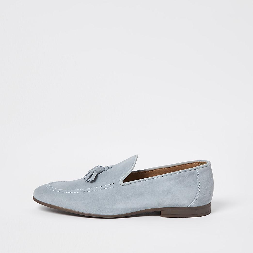 Blue tassel suede loafers