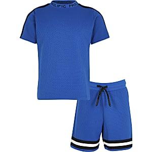 Blue texture tape t-shirt set