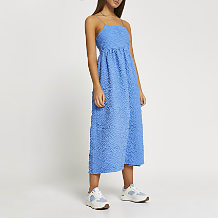 Blue textured cami midi dress