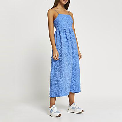 Blue textured cami midi dress