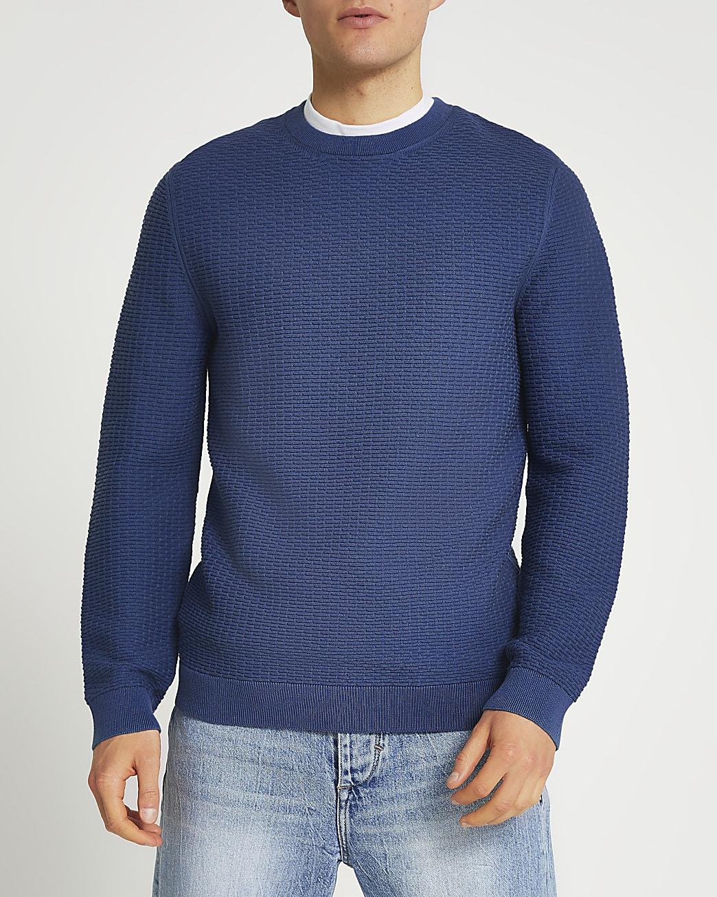 Blue textured crew neck jumper