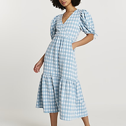 Blue textured gingham wrap midi dress