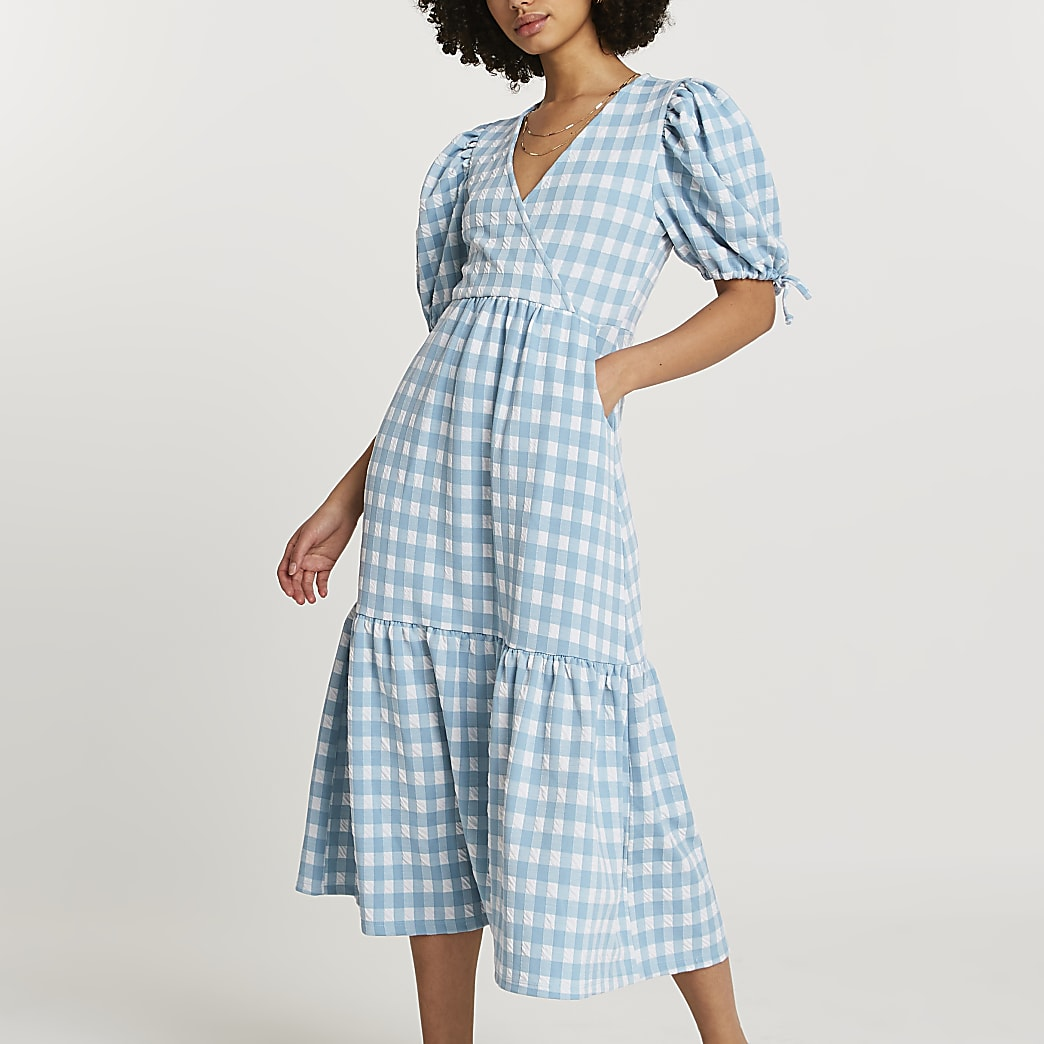 Blue textured gingham wrap midi dress