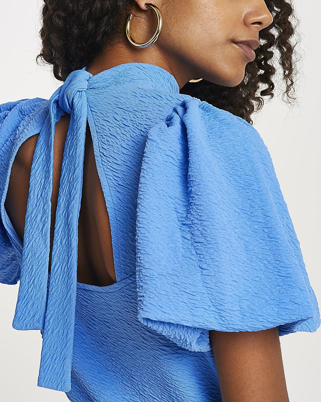 Blue textured high neck tie back top