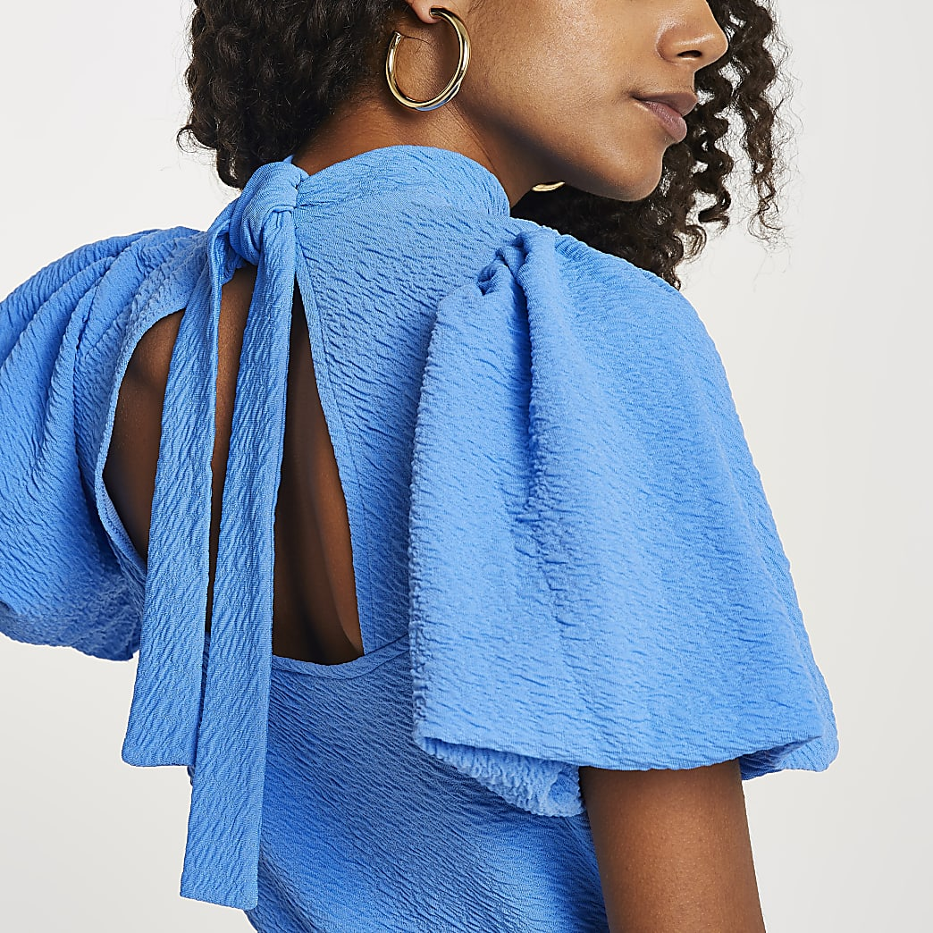 Blue textured high neck tie back top