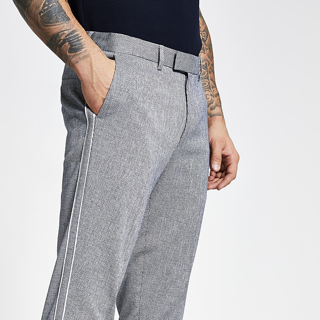 Blue textured piping side skinny trousers