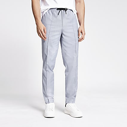 Blue textured skinny fit smart joggers