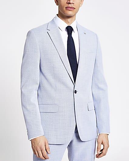 Blue textured slim fit suit jacket