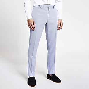 Blauwe slim-fit broek met textuur