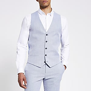 Blue textured slim waistcoat