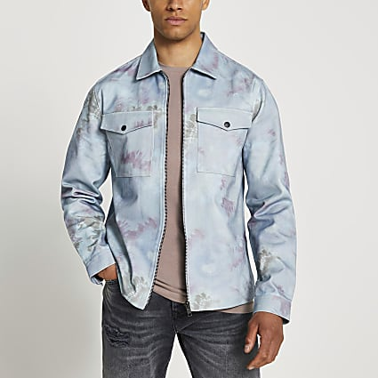 Blue tie die shacket