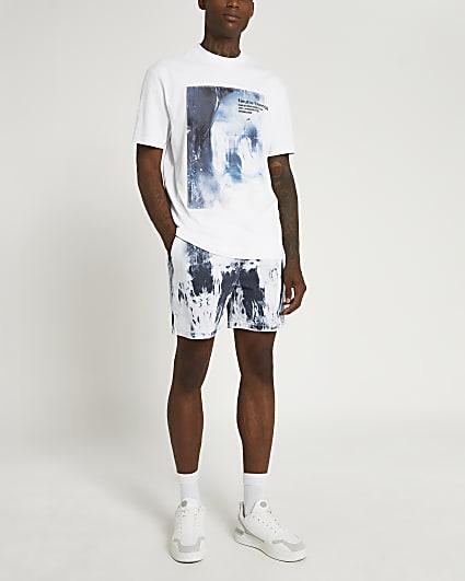 Blue tie dye elasticated waist denim shorts