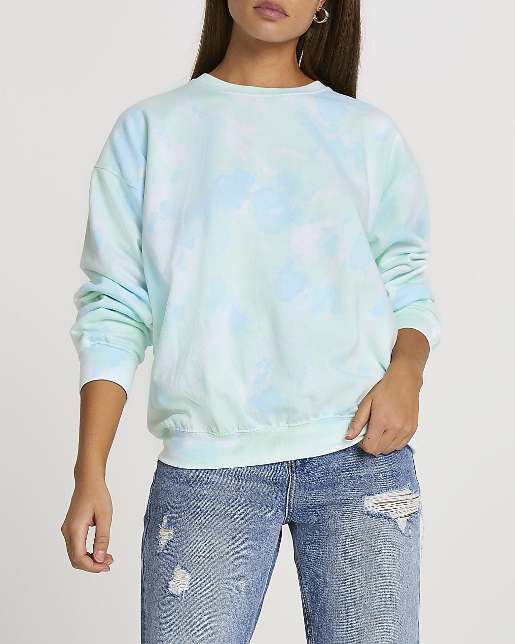 Blue tie dye long sleeve sweatshirt