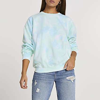 Blue tie dye long sleeve sweatshirt