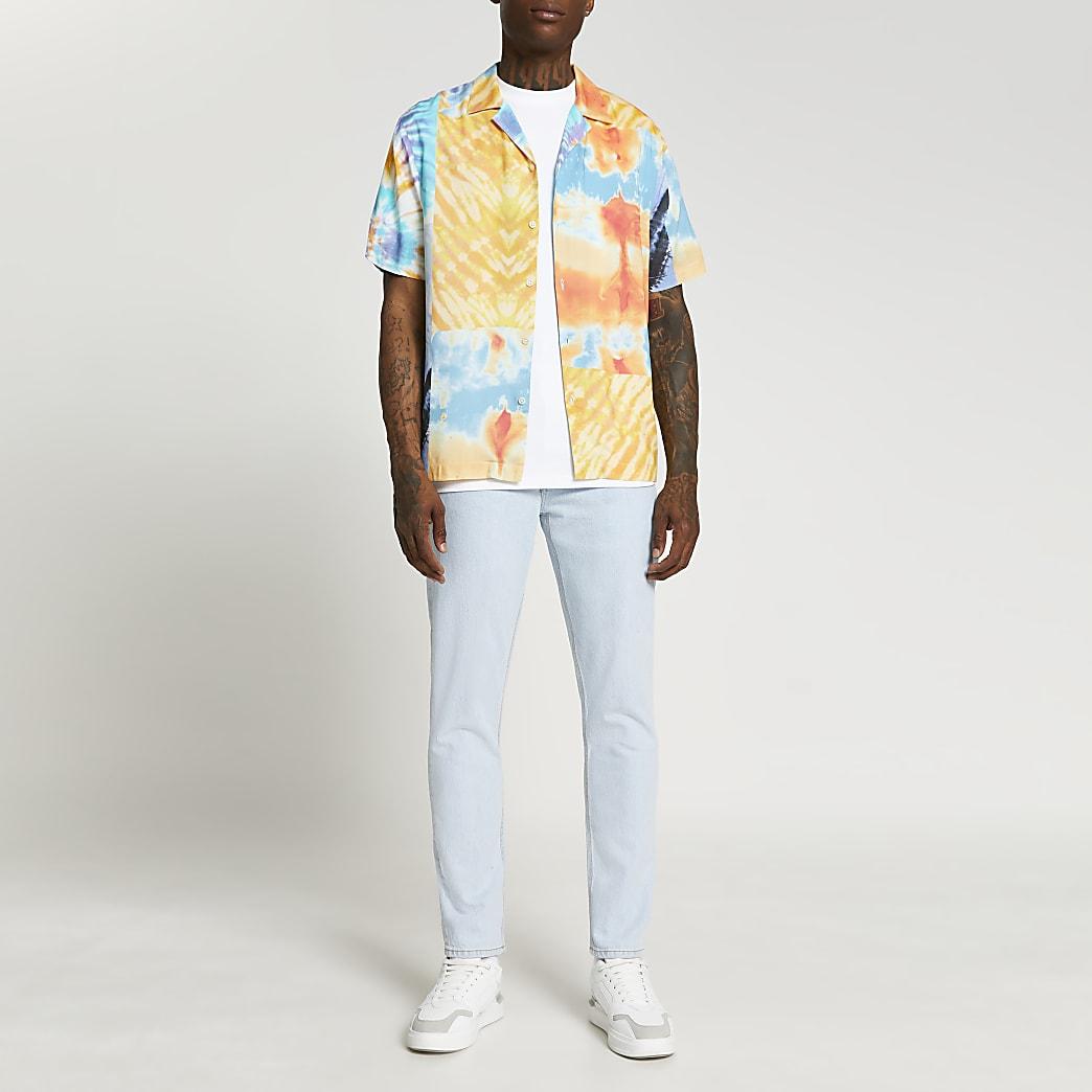 Blue tie dye patchwork short sleeve shirt
