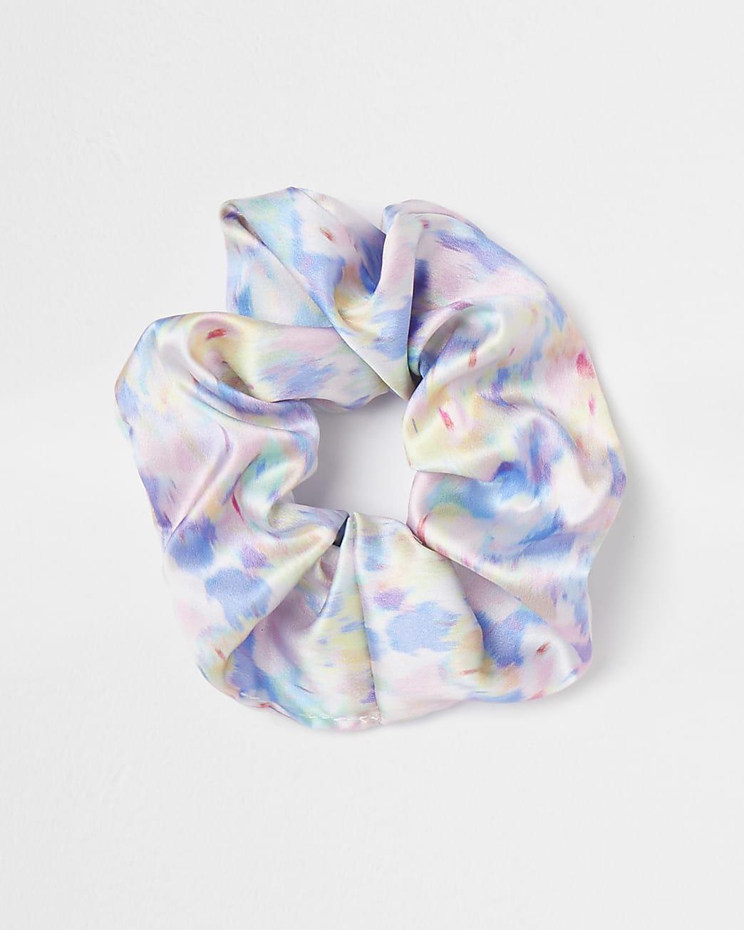 Blue tie dye print hair scrunchie