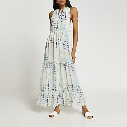 Blue tie dye print maxi dress