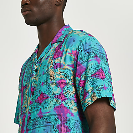 Blue tie dye print short sleeve revere shirt