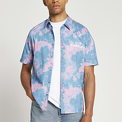 Blue tie dye revere short sleeve shirt