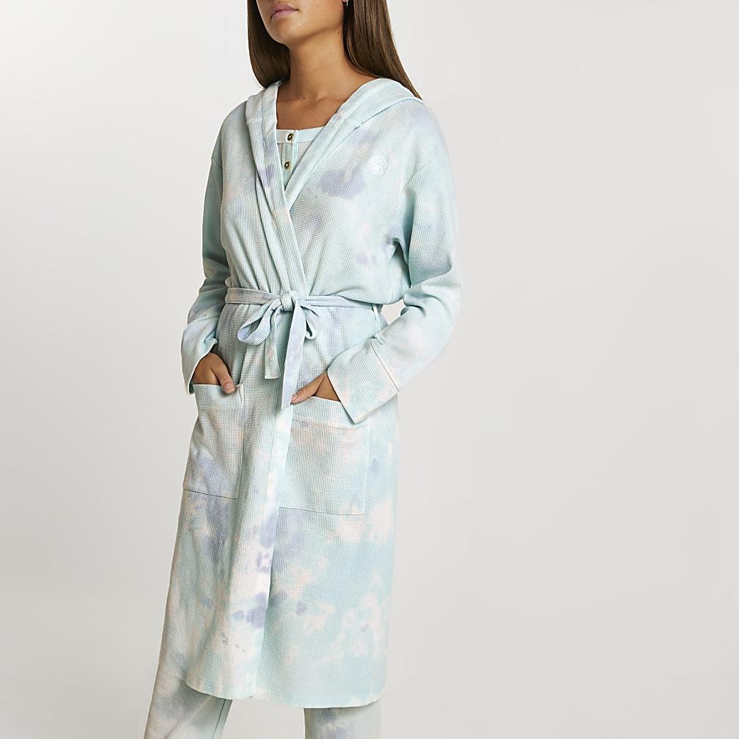 Blue tie dye waffle hooded robe