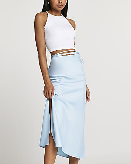 Blue tie waist midi skirt