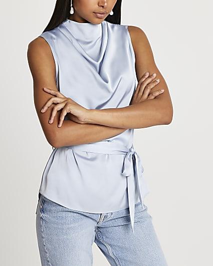 Blue tie waist sleeveless blouse top