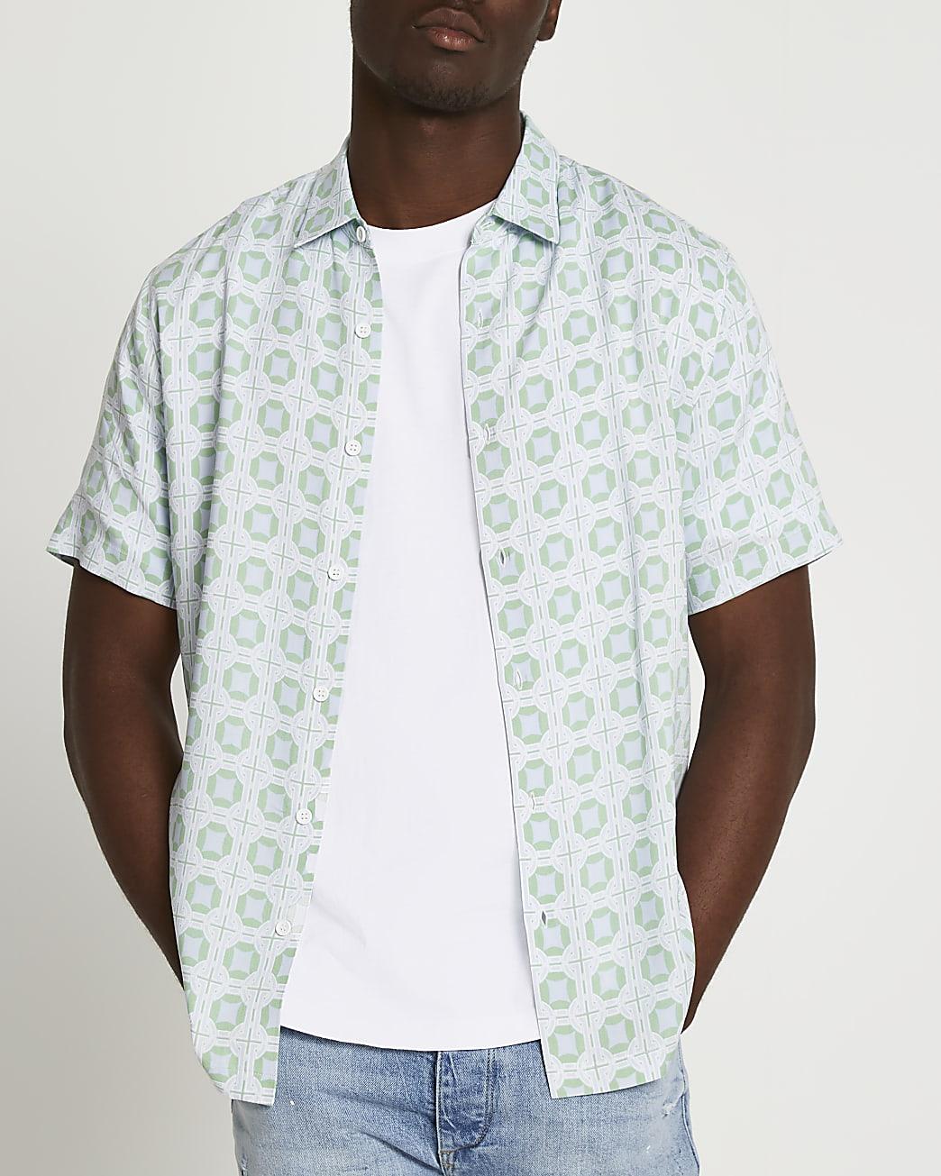 Blue tile print revere short sleeve shirt