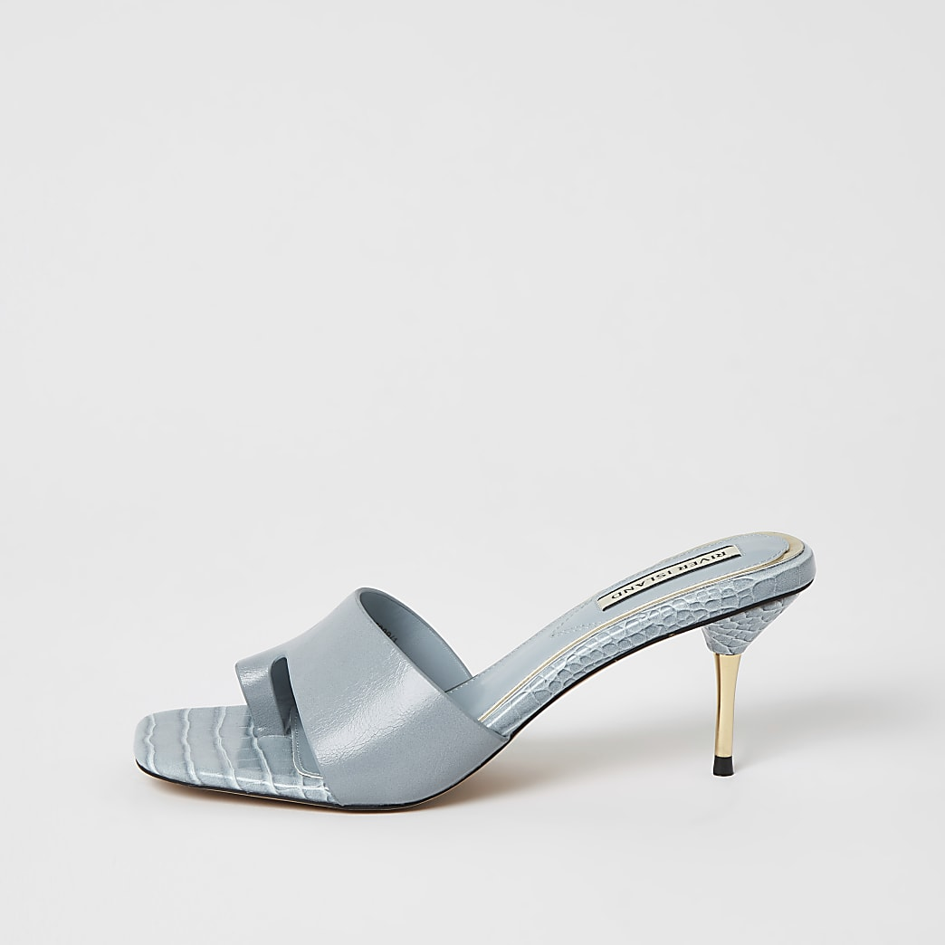Blue toe loop mule heeled sandals
