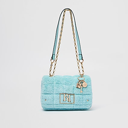 Blue towelling detail shoulder bag