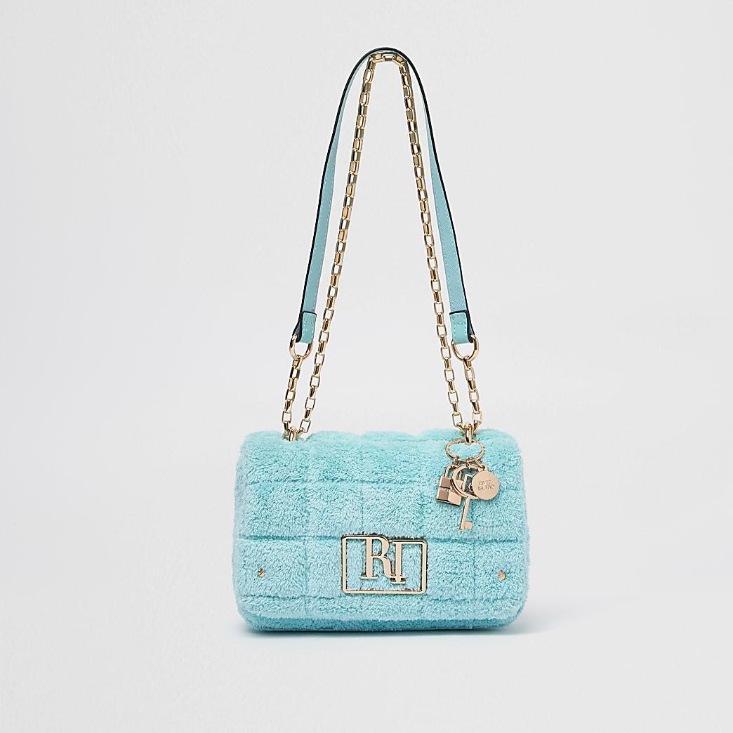 Blue towelling detail shoulder bag