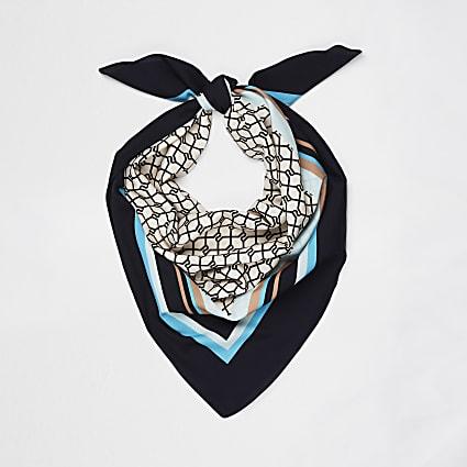Blue trellis logo border scarf