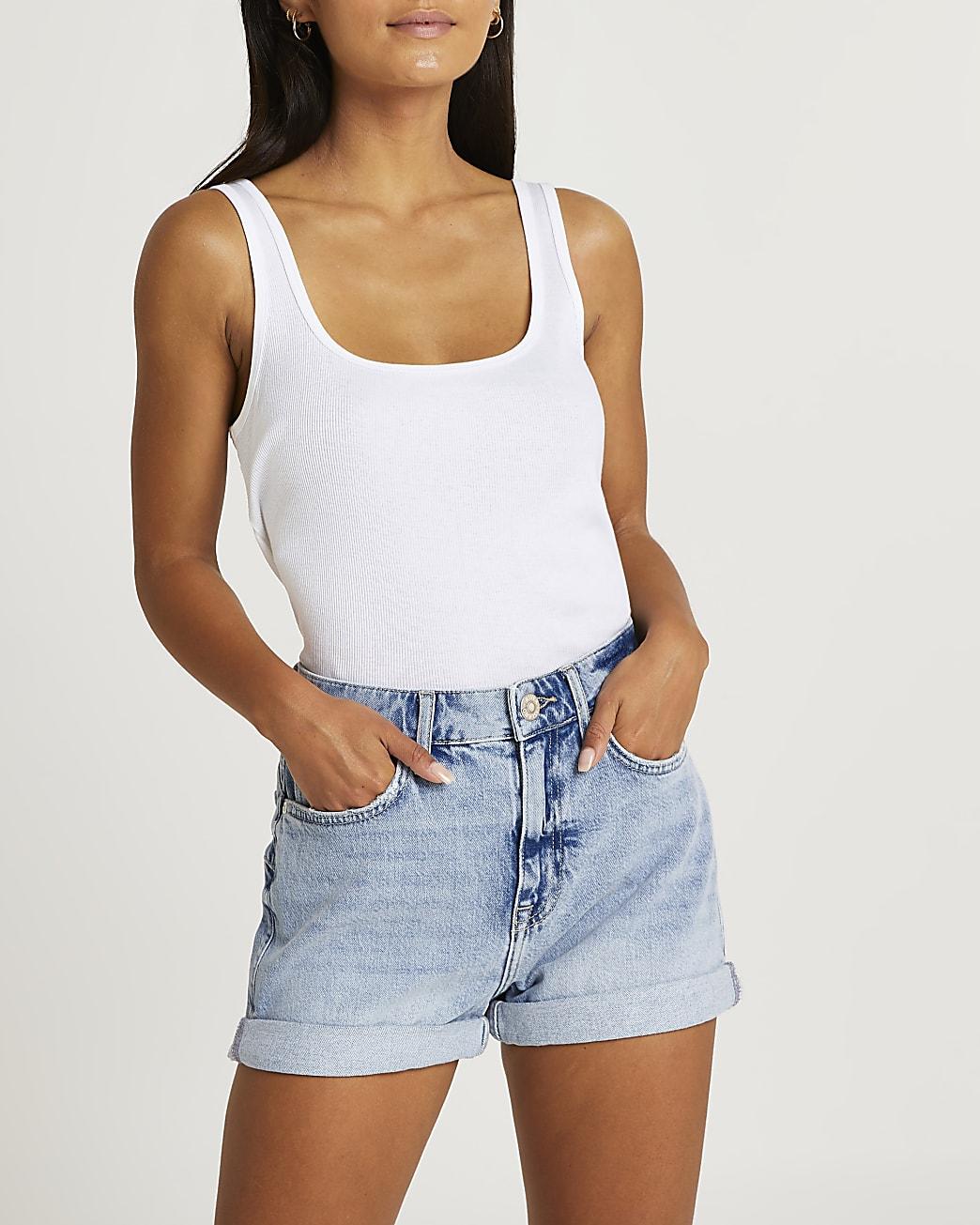 Blue turn up denim shorts