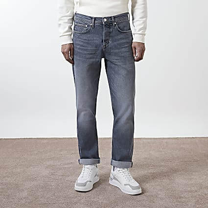 Blue turn up straight fit jeans